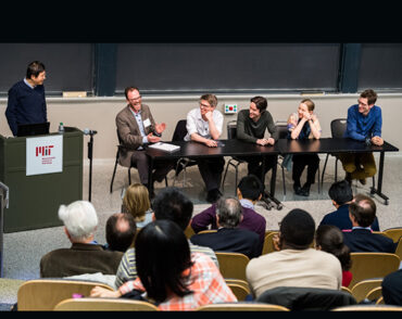 CTP Professors Hong Liu, Jesse Thaler, William Detmold, Daniel Harlow, Tracy Slatyer, and Aram Harrow share a moment during a panel discussion on the future of theoretical physics.