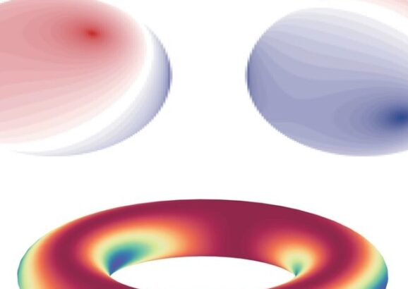 Images showing interference patterns (top) and a Wilson loop (bottom)