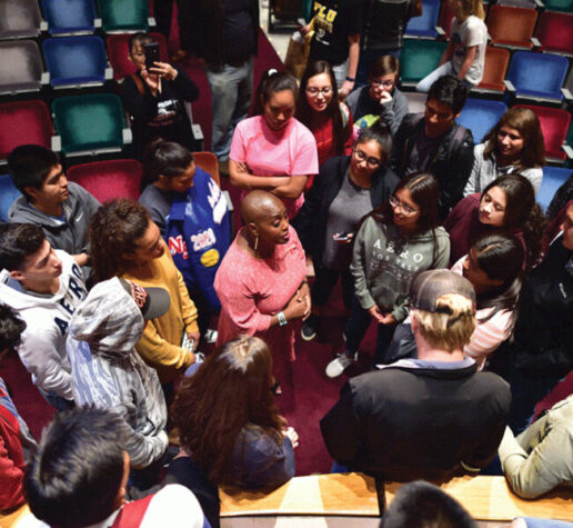K. Renee Horton, NASA scientist and past president of the National Society of Black Physicists, speaks with students at a recent physics conference.