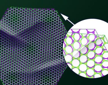 """Illustration of two sheets of graphene are stacked together at a slightly offset """"magic"""" angle, which can become either an insulator or superconductor."""