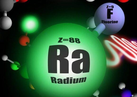 Illustration of short-lived radioactive molecule, radium monofluoride.