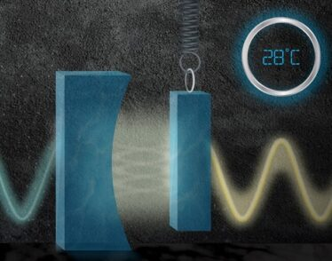 """Artist's interpretation of MIT-designed miniature """"squeezer"""" reduces quantum noise in lasers at room temperature."""