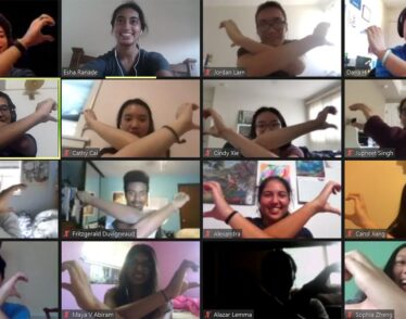 Five by four grid of first-year students crossing their arms in a team-building exercise on Zoom
