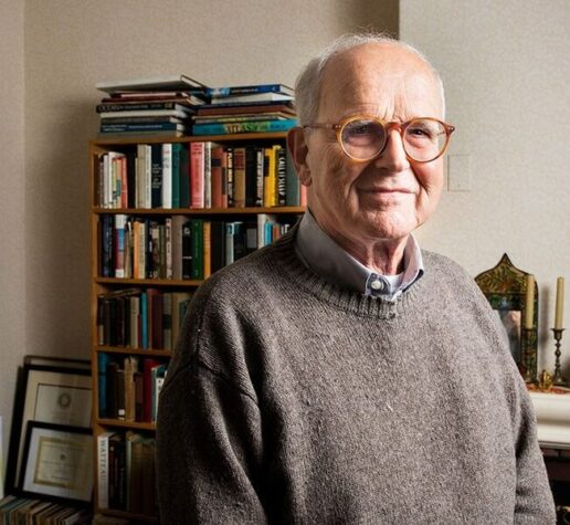 Rainer Weiss at home early this morning, after learning that he has won the 2017 Nobel Prize in physics.