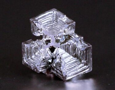 Crystal of bismuth has a staircase-like appearance because of the repeating honeycomb-like structure of its atoms.