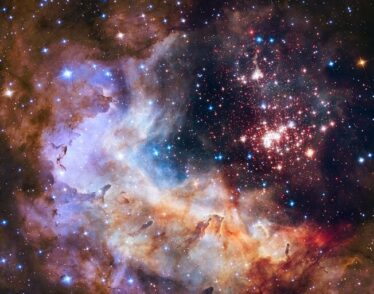 Image of the cluster Westerlund 2, an obscured compact young star cluster in the Milky Way, and its surroundings.