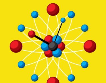 Illustration of clock made of atomic particles.