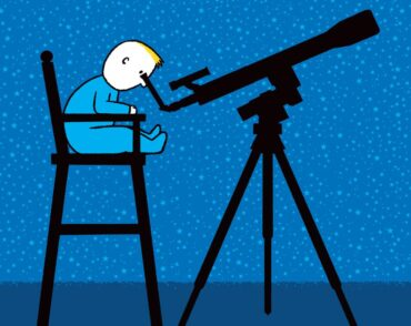 Illustration of baby in high chair looking at the stars with a telescope
