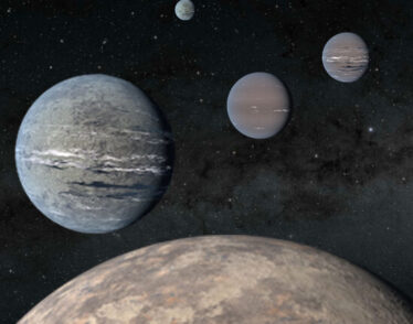 An artist's rendering of five planets orbiting TOI-1233.