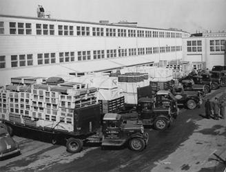 Trucks line up outside Rad Lab