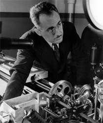 """George R. Harrison with his '""""automatic comparator."""""""
