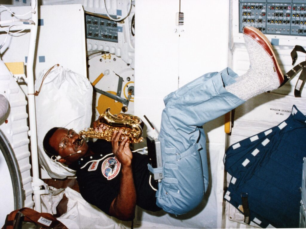 Ronald McNair playing saxophone in space, first in history (1984).