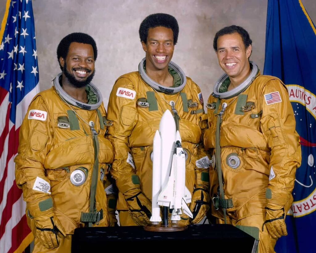Ronald McNair with Guion Bluford and Fred Gregory, two other astronauts from the 1978 NASA pool intake.