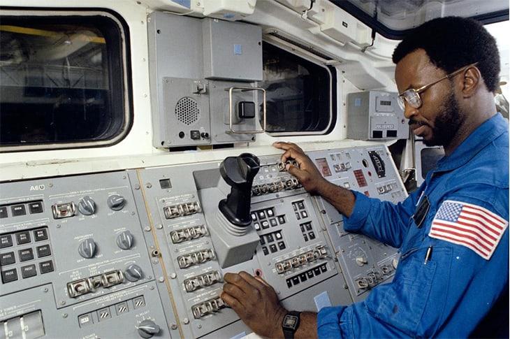 Ronald McNair at the controls