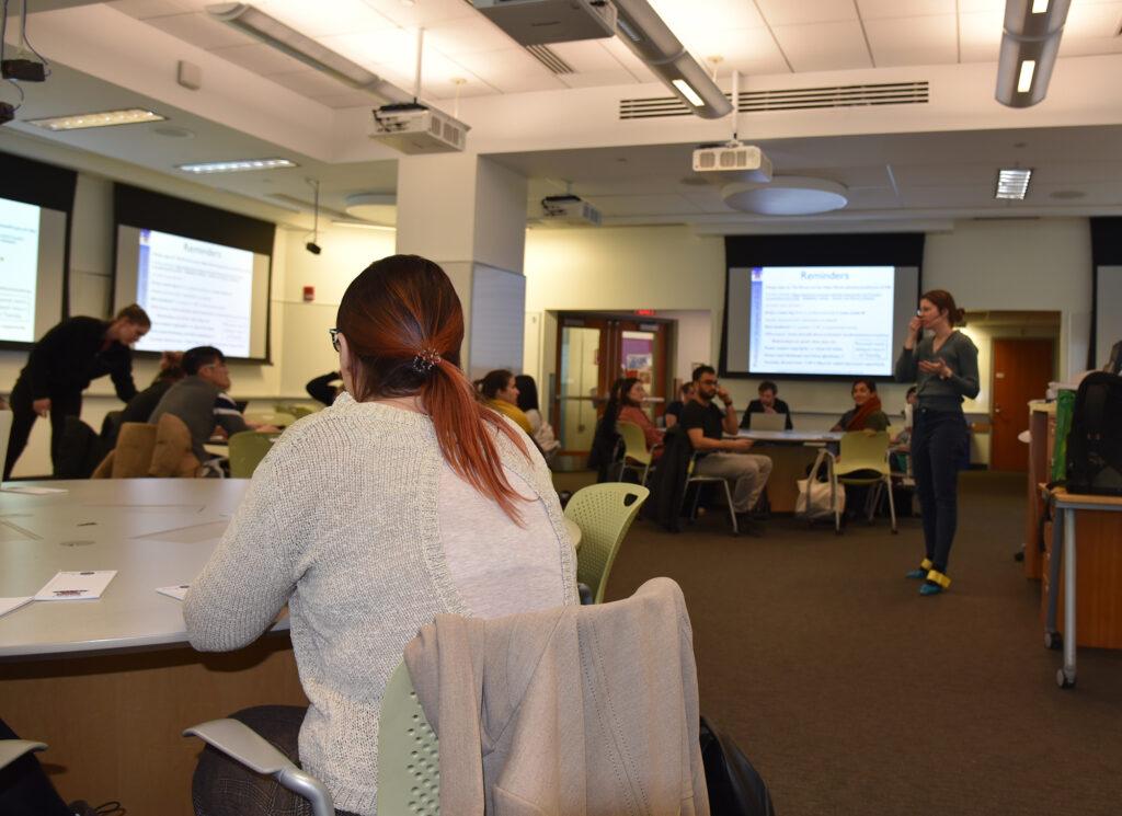 Professor Anna Frebel speaks to students of 8.S396, part of MITLEAPS