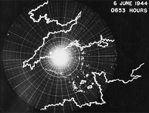 Radar scope shows Allied invasion of France on D-Day, 1944