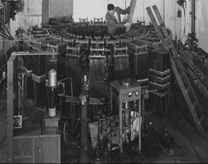 Technicians inspect the 300 MeV electron synchrotron