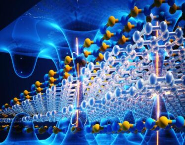 Illustration featuring a lattice of clear hexagons and a lattice of blue and yellow hexagons, superimposed on undulating waves.