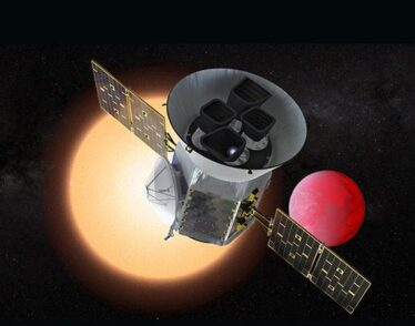 An artist concept depicts TESS in front of a lava planet orbiting its host star.