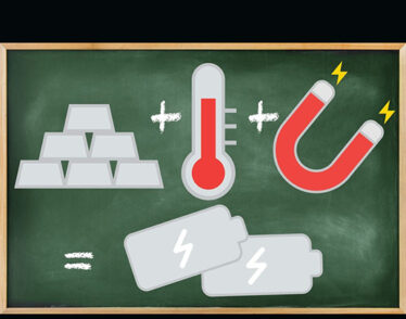 Illustration shows calculation of metal, heat and magnetic fields equals energy.