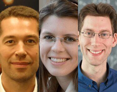 Newly tenured physics professors: Matthew Evans, Anna Frebel, and Aram Harrow