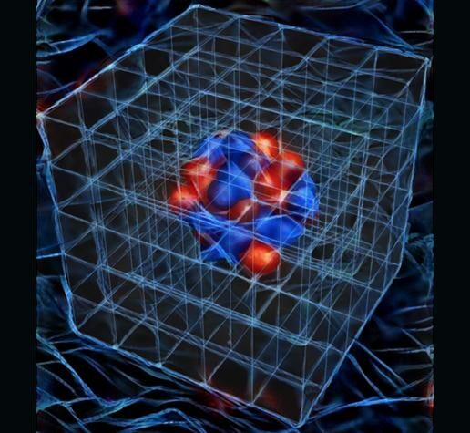 The image is an artist's visualization of a nucleus as studied in numerical simulations, created using DeepArt neural network visualization software.