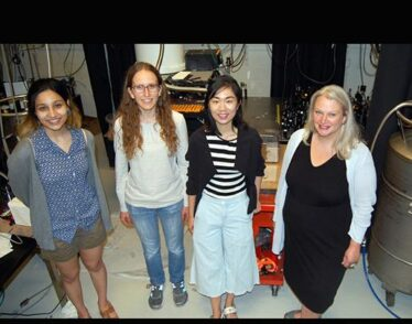 Photo of Heising-Simons Foundation grant recipients: (l-r) Radha Mastandrea, Carina Belvin, and Shuo Zhang, and Professor Lindley Winslow