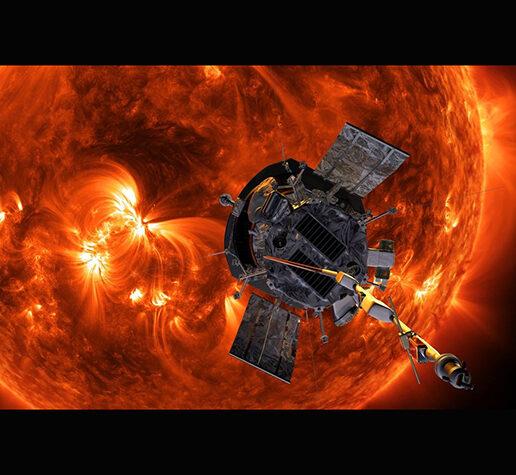 Illustration of NASA's Parker Solar Probe in front of the Sun.