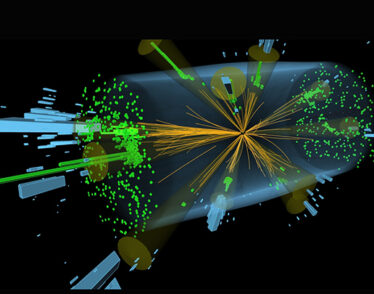 This illustration shows a multi-jet event recorded by the CMS detector at the Large Hadron Collider.