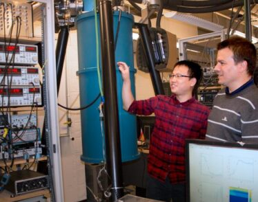 MIT researchers Sanfeng Wu, left, a postdoc at MIT, and Pablo Jarillo-Herrero, the Cecil and Ida Green Professor of Physics in lab.