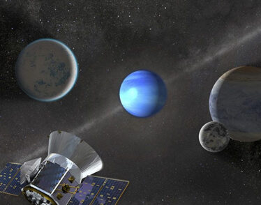 TESS in space near three exoplanets and a moon