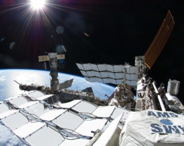Shows AMS detector on the International Space Station