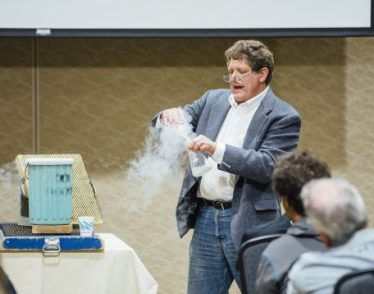 Gregory Francis PhD '87 demonstrates physics experiments