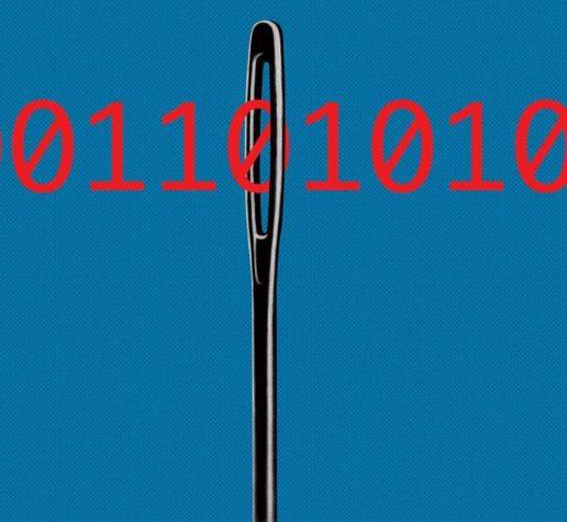 Illustration of binary code through eye of needle