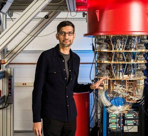 Google CEO Sundar Pichai with one of Google's quantum computers