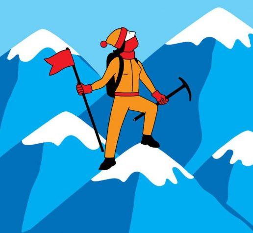 Illustration of climber atop mountain