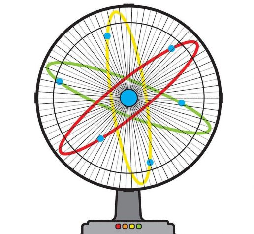 Illustration of electrons and fan
