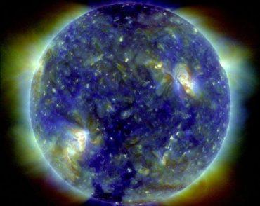 False-color image of the sun.
