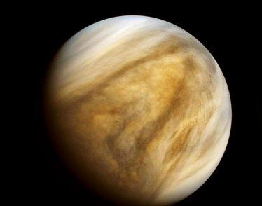 Venus photographed in ultraviolet light by the Pioneer Venus Orbiter (Pioneer 12) spacecraft, Feb. 26, 1979.