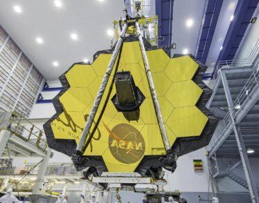 The James Webb Space telescope under construction.