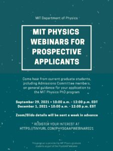Poster for MIT Physics Webinars for Prospective Applicants