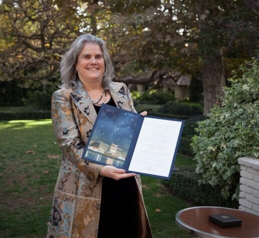 Andrea Ghez '87 poses with her Nobel diploma